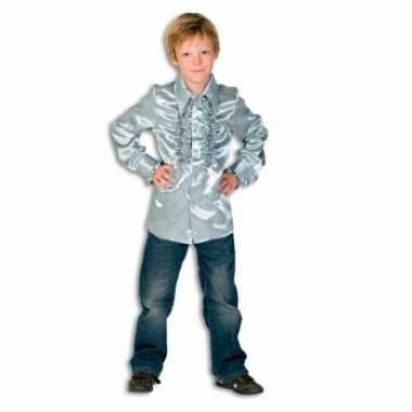 Carnaval  Satijnen blouse zilver jongens kostuum