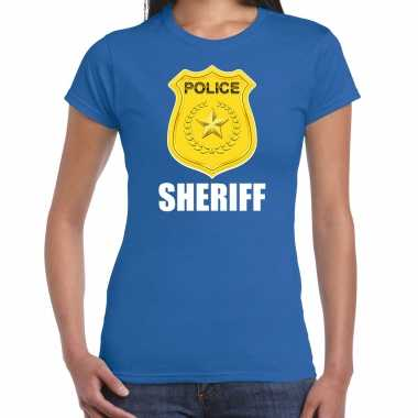 Carnaval sheriff police / politie embleem t shirt blauw dames kostuum