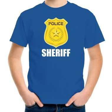 Carnaval sheriff police / politie embleem t shirt blauw kinderen kostuum