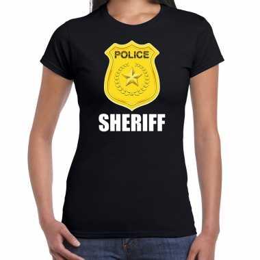 Carnaval sheriff police / politie embleem t shirt zwart dames kostuum