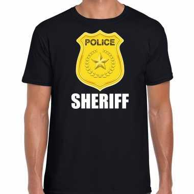 Carnaval sheriff police / politie embleem t shirt zwart heren kostuum