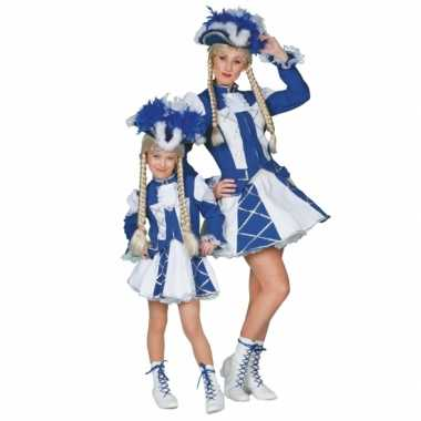 Carnaval  Showdans kostuumje meiden blauw wit