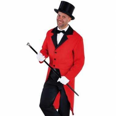 Carnaval slipjas rood bijpassende hoed maat xl kostuum