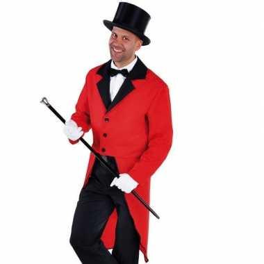 Carnaval slipjas rood bijpassende hoed kostuum