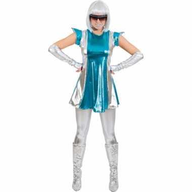 Carnaval space verkleed kostuumje blauw/zilver dames