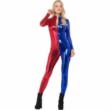 Superheld catsuit rood blauw metallic