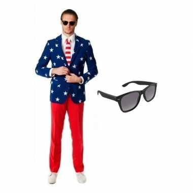 Carnaval verkleed amerikaanse vlag print heren kostuum maat (xl) grat