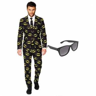 Carnaval verkleed batman net heren kostuum maat (xxl) gratis zonnebri