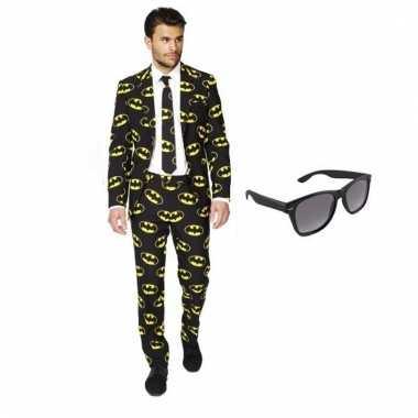 Carnaval verkleed batman print heren kostuum maat (s) gratis zonnebri