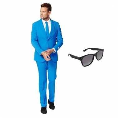 Carnaval verkleed blauw net heren kostuum maat (m) gratis zonnebril