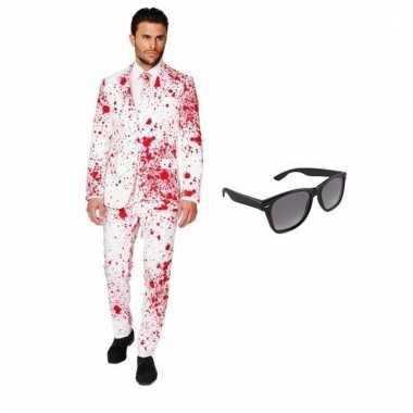 Carnaval verkleed bloed print heren kostuum maat (m) gratis zonnebril