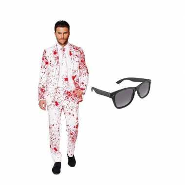 Carnaval verkleed bloedvlekken net heren kostuum maat (xxxl) gratis z