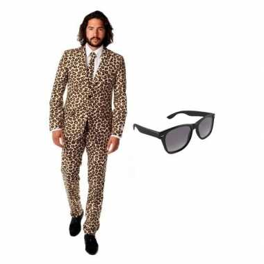 Carnaval verkleed bruin luipaard print heren kostuum maat (l) gratis