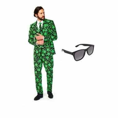 Carnaval verkleed cannabis print heren kostuum maat (l) gratis zonneb