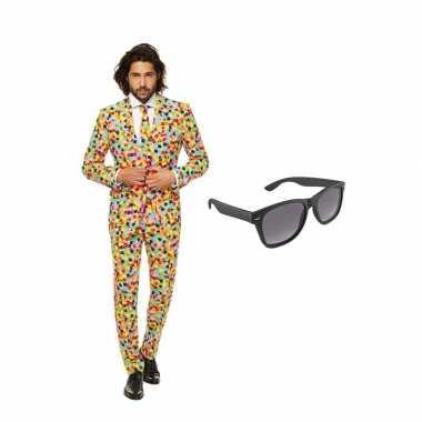 Carnaval verkleed confetti print net heren kostuum maat (l) gratis zo