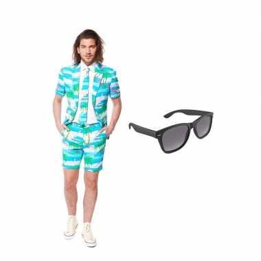 Carnaval verkleed flamingo zomer net heren kostuum maat (l) gratis zo