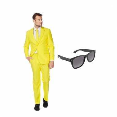 Carnaval verkleed geel net heren kostuum maat (s) gratis zonnebril