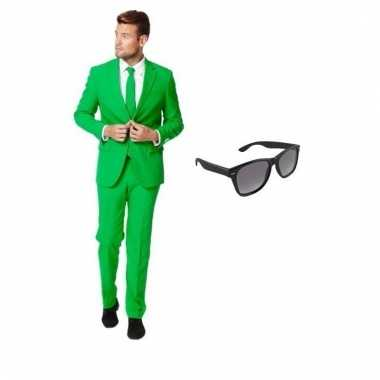 Carnaval verkleed groen net heren kostuum maat (l) gratis zonnebril