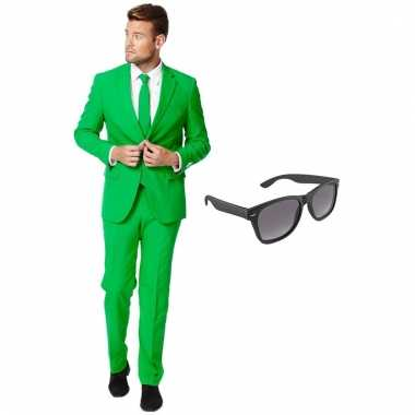 Carnaval verkleed groen net heren kostuum maat (xxl) gratis zonnebril