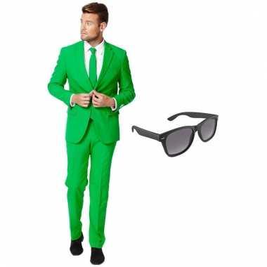 Carnaval verkleed groen net heren kostuum maat (xxxl) gratis zonnebri