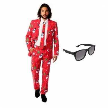 Carnaval verkleed kerst print heren kostuum maat (m) gratis zonnebril