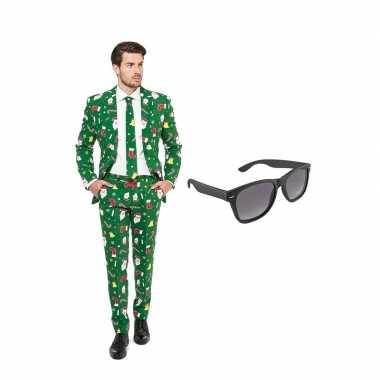 Carnaval verkleed kerst print net heren kostuum maat (s) gratis zonne