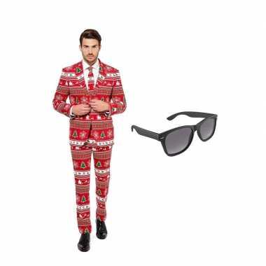 Carnaval verkleed kerstboom print net heren kostuum maat (l) gratis z