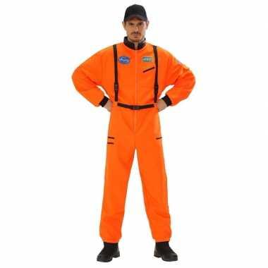 Carnaval verkleed kostuum astronaut kostuum oranje heren
