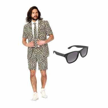 Carnaval verkleed luipaard print net heren kostuum maat (l) gratis zo
