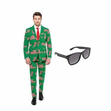 Carnaval verkleed merry christmas print net heren kostuum maat (xxl)