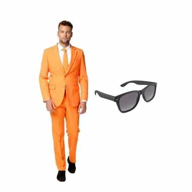 Carnaval verkleed oranje net heren kostuum maat (xl) gratis zonnebril