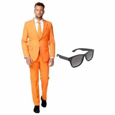 Carnaval verkleed oranje net heren kostuum maat (xxxl) gratis zonnebr