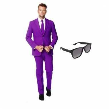 Carnaval verkleed paars net heren kostuum maat (s) gratis zonnebril