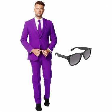Carnaval verkleed paars net heren kostuum maat (xxl) gratis zonnebril