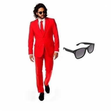 Carnaval verkleed rood net heren kostuum maat (l) gratis zonnebril