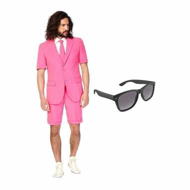 Carnaval verkleed roze net heren kostuum maat (l) gratis zonnebril