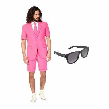Carnaval verkleed roze net heren kostuum maat (m) gratis zonnebril
