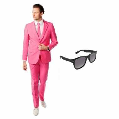Carnaval verkleed roze net heren kostuum maat (xl) gratis zonnebril