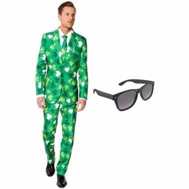 Carnaval verkleed sint patricks day print net heren kostuum maat (l)