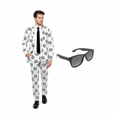Carnaval verkleed stormtrooper print net heren kostuum maat (l) grati