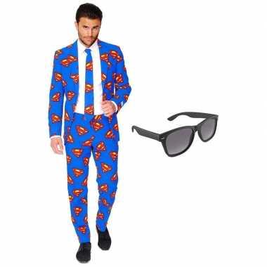 Carnaval verkleed superman net heren kostuum maat (xxl) gratis zonneb