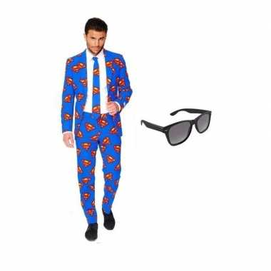 Carnaval verkleed superman print heren kostuum maat (l) gratis zonneb