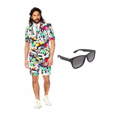 Carnaval verkleed testbeeld net heren kostuum maat (l) gratis zonnebr