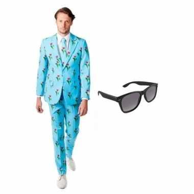 Carnaval verkleed tulpen print heren kostuum maat (l) gratis zonnebri