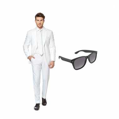 Carnaval verkleed wit net heren kostuum maat (s) gratis zonnebril