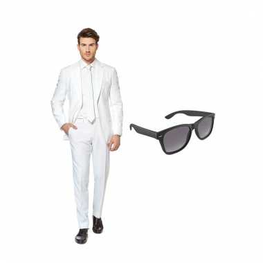 Carnaval verkleed wit net heren kostuum maat (xxl) gratis zonnebril