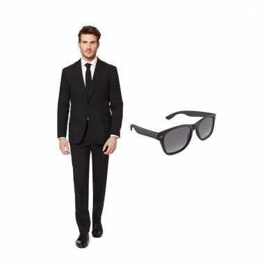 Carnaval verkleed zwart net heren kostuum maat (l) gratis zonnebril