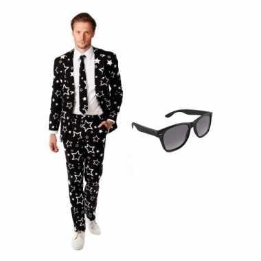 Carnaval verkleed zwart sterren print heren kostuum maat (l) gratis z