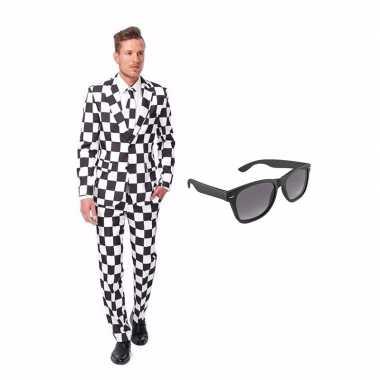Carnaval verkleed zwart/wit geblokt print net heren kostuum maat (l)