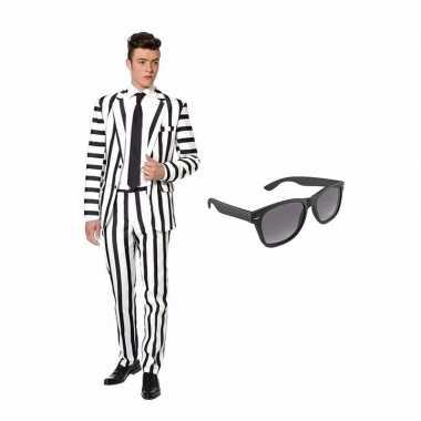 Carnaval verkleed zwart/wit gestreept print net heren kostuum maat (l